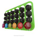 Dolce gusto coffee pod holder, wall mounted, half height.  Shown in lime holding 24 pods