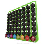 Dolce Gusto Coffee Pod Holder, Wall Mounted.  Shown in Lime Holding 64 Pods