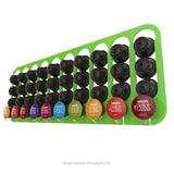 Dolce gusto coffee pod holder, wall mounted, half height.  Shown in lime holding 40 pods