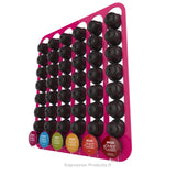 Dolce Gusto Coffee Pod Holder, Wall Mounted.  Shown in Pink Holding 48 Pods