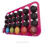 Dolce gusto coffee pod holder, wall mounted, half height.  Shown in pink holding 24 pods