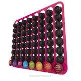 Dolce Gusto Coffee Pod Holder, Wall Mounted.  Shown in Pink Holding 64 Pods