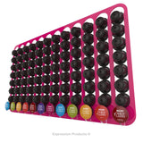 Dolce Gusto Coffee Pod Holder, Wall Mounted.  Shown in Pink Holding 96 Pods