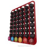 Dolce Gusto Coffee Pod Holder, Wall Mounted.  Shown in Red Holding 48 Pods