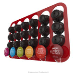 Dolce gusto coffee pod holder, wall mounted, half height.  Shown in red holding 24 pods