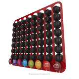 Dolce Gusto Coffee Pod Holder, Wall Mounted.  Shown in Red Holding 64 Pods