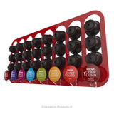 Dolce gusto coffee pod holder, wall mounted, half height.  Shown in red holding 32 pods