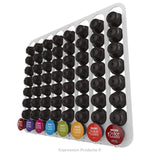 Dolce Gusto Coffee Pod Holder, Wall Mounted.  Shown in White Holding 64 Pods