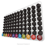 Dolce Gusto Coffee Pod Holder, Wall Mounted.  Shown in White Holding 96 Pods