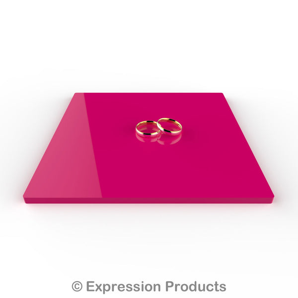"Square Pink Acrylic Cake Display Board 4"" - 18"" - Expression Products Ltd"