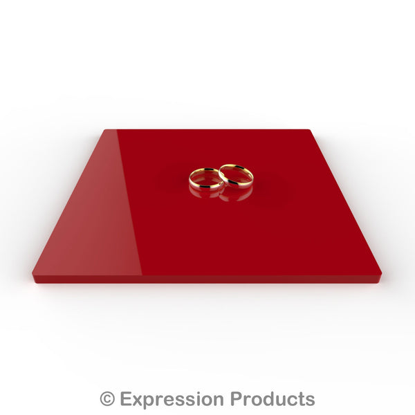 "Square Red Acrylic Cake Display Board 4"" - 18"" - Expression Products Ltd"