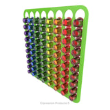 Magnetic Nespresso Original Line coffee pod holder shown in lime holding 80 pods