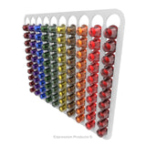 Magnetic Nespresso Original Line coffee pod holder shown in white holding 100 pods