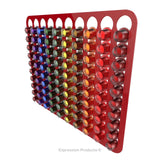 Magnetic Nespresso Original Line coffee pod holder shown in red holding 100 pods