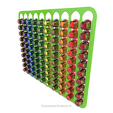 Magnetic Nespresso Original Line coffee pod holder shown in lime holding 100 pods