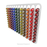 Magnetic Nespresso Original Line coffee pod holder shown in white holding 120 pods