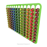 Magnetic Nespresso Original Line coffee pod holder shown in lime holding 120 pods