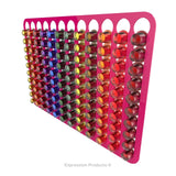 Magnetic Nespresso Original Line coffee pod holder shown in pink holding 120 pods