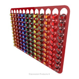 Magnetic Nespresso Original Line coffee pod holder shown in red holding 120 pods