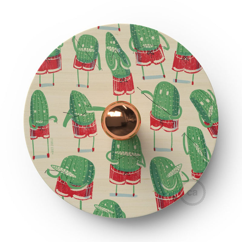 Fermaluce Funny Pop with double-sided wooden UFO lampshade illustrated by various artists