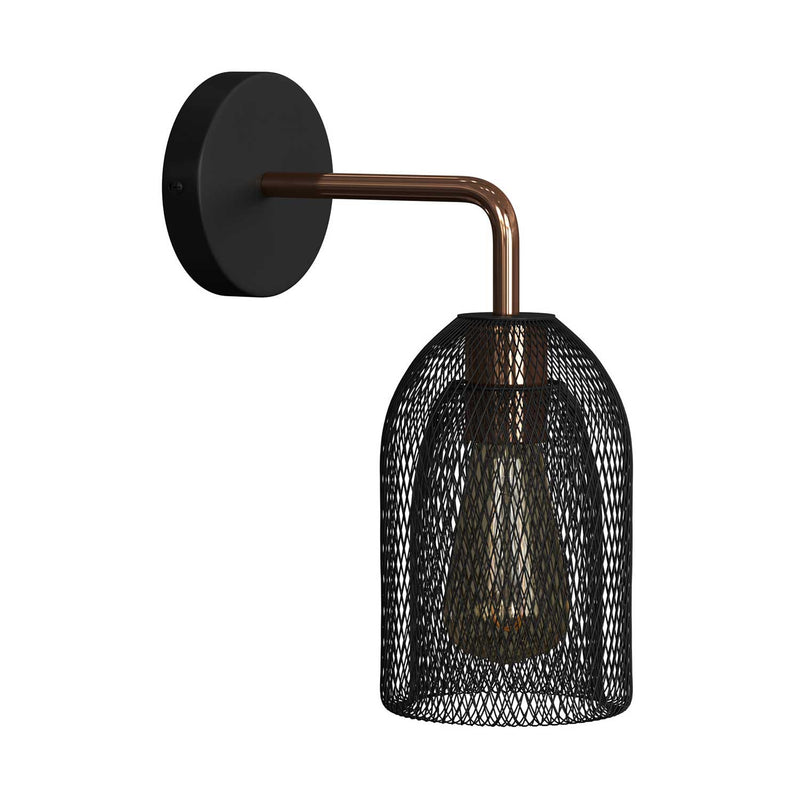 Fermaluce Urban metal wall light with Ghostbell lampshade and bent extension