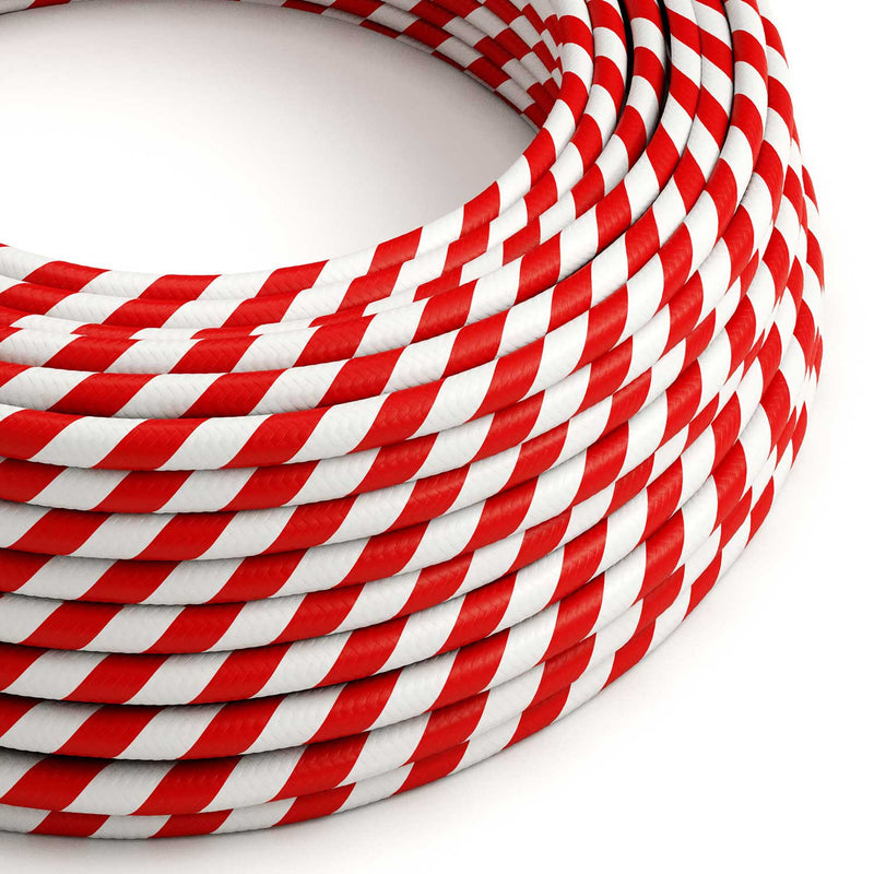 Round Electric Vertigo HD Cable covered by Candy Cane fabric ERM39