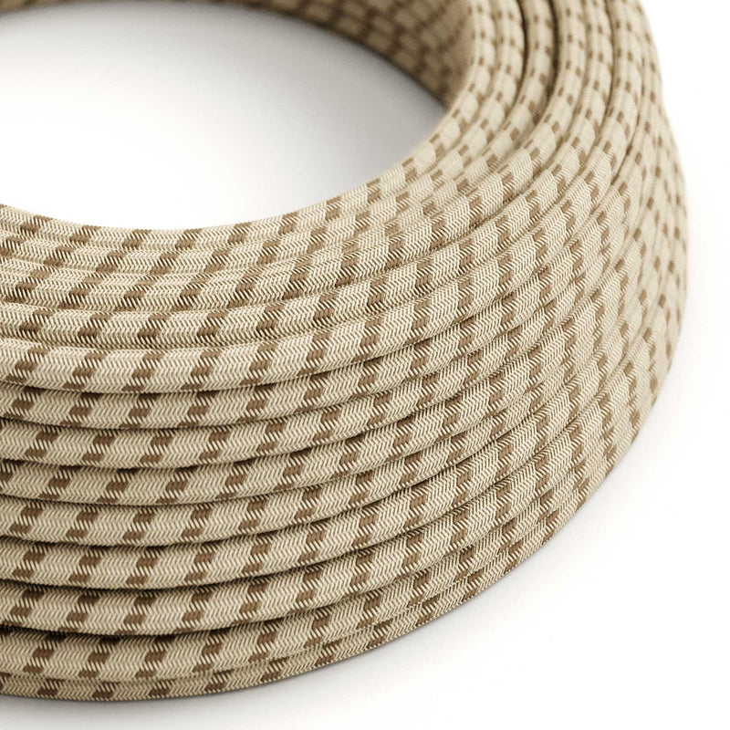 Round Electric Cable covered by Colored Bark Stripes Cotton and Natural Linen RD53