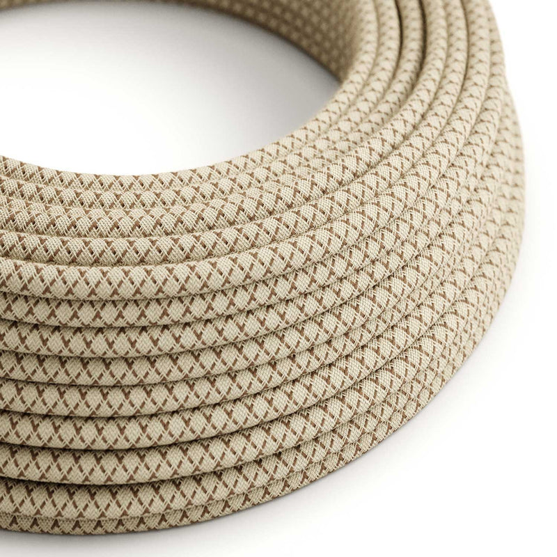 Round Electric Cable covered by Colored Bark Lozanga Cotton and Natural Linen RD63