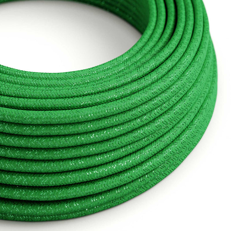 Round Glittering Electric Cable covered by Rayon solid color fabric RL06 Green
