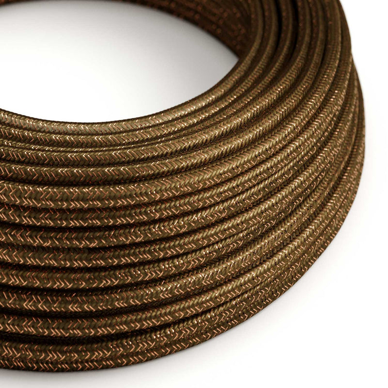 Round Glittering Electric Cable covered by Rayon solid color fabric RL13 Brown
