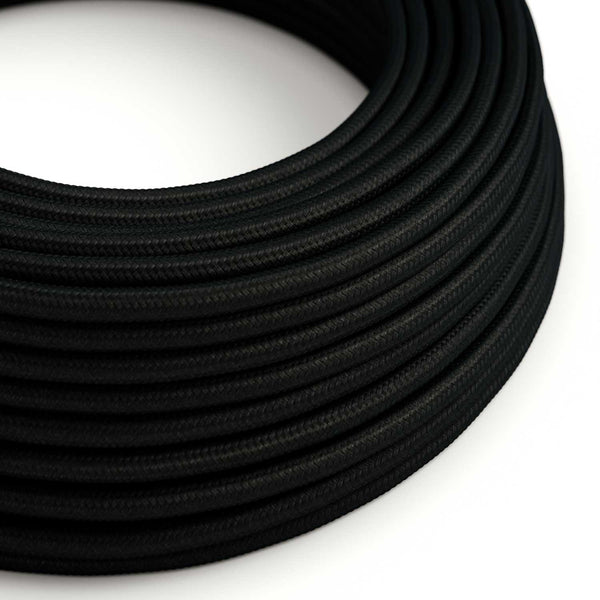 Round Electric Cable covered by Rayon solid color fabric RM04 Black