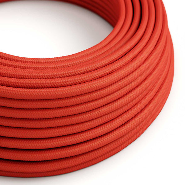 Round Electric Cable covered by Rayon solid color fabric RM09 Red