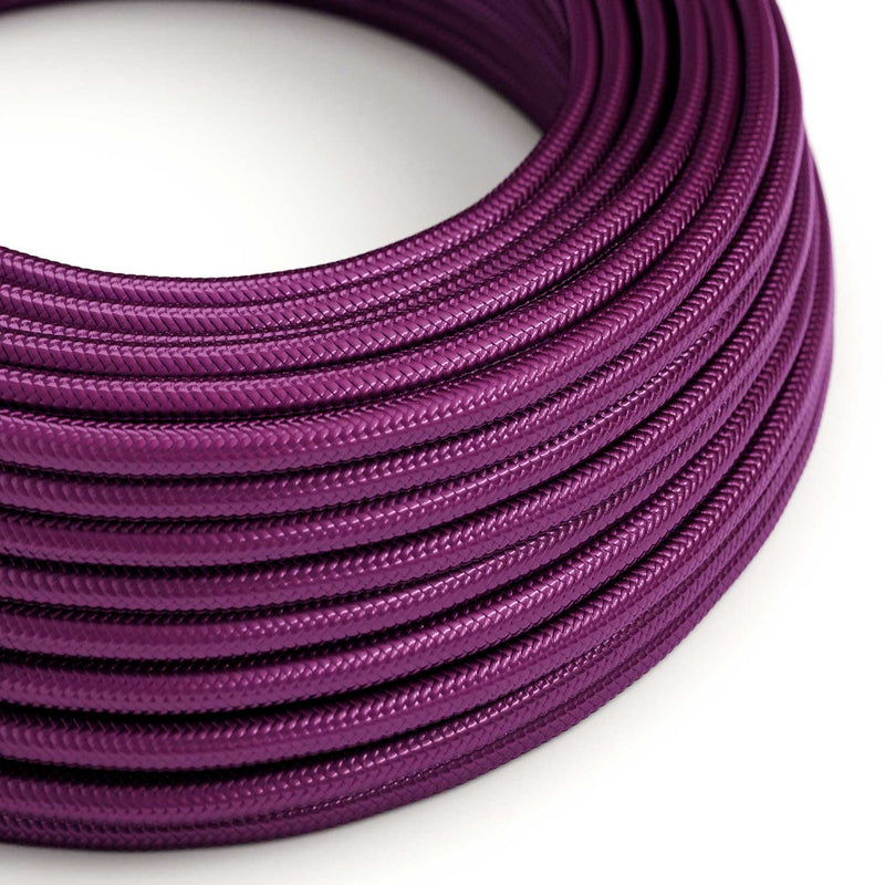 Round Electric Cable covered in Rayon solid color fabric - RM35 UltraViolet