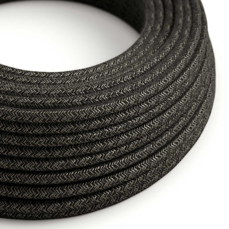 Round Electric Cable covered by Natural Linen RN03 Anthracite