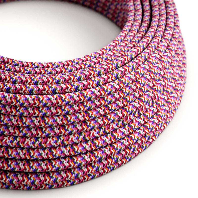 Round Electric Cable covered by rayon fabric RX00 Pixel Fuchsia