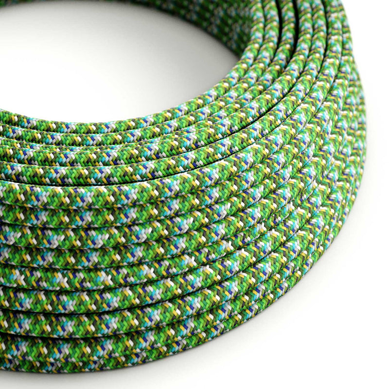 Round Electric Cable covered by rayon fabric RX05 Pixel Green