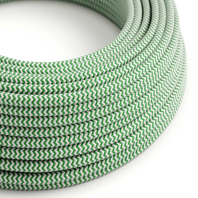 Round Electric Cable covered by Rayon fabric ZigZag RZ06 Green