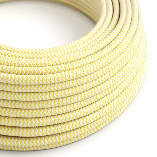 Round Electric Cable covered by Rayon fabric ZigZag RZ10 Yellow