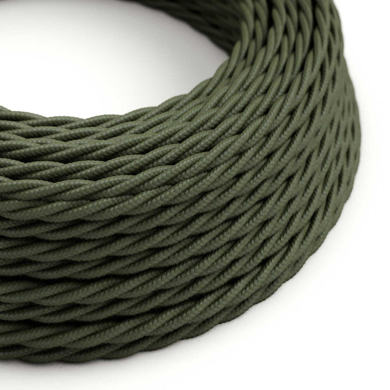 Twisted Electric Cable covered by Cotton solid color fabric TC63 Green Grey