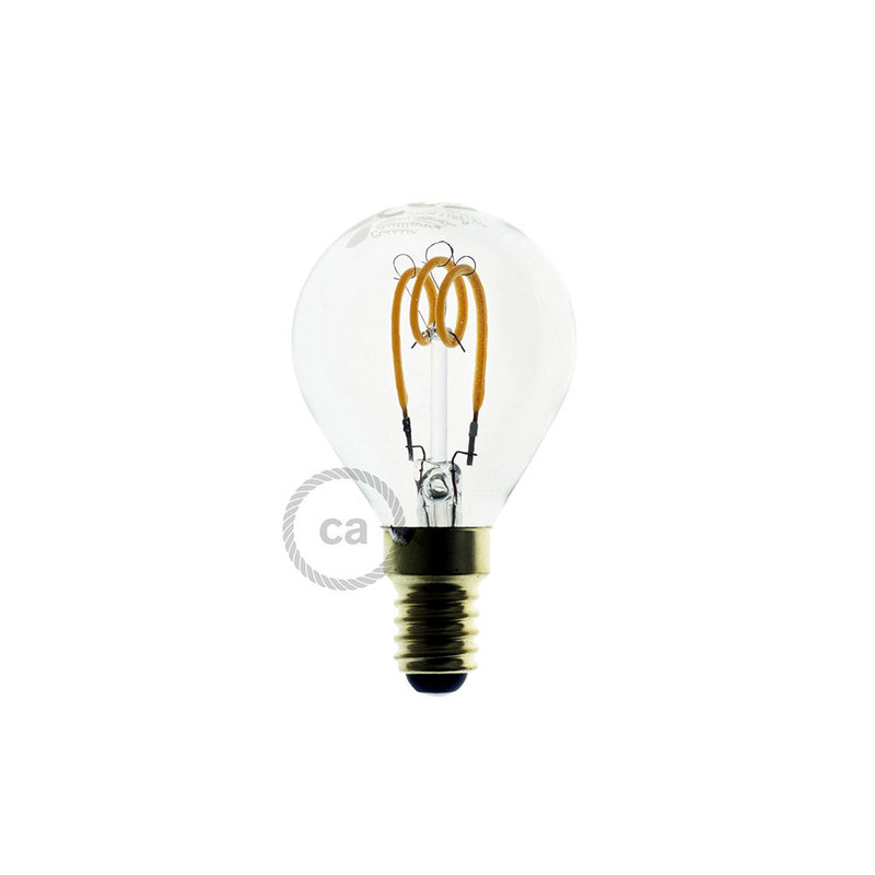 LED Transparent Light Bulb - Sphere G45 Curved Spiral Filament - 3W E14 Dimmable 2200K
