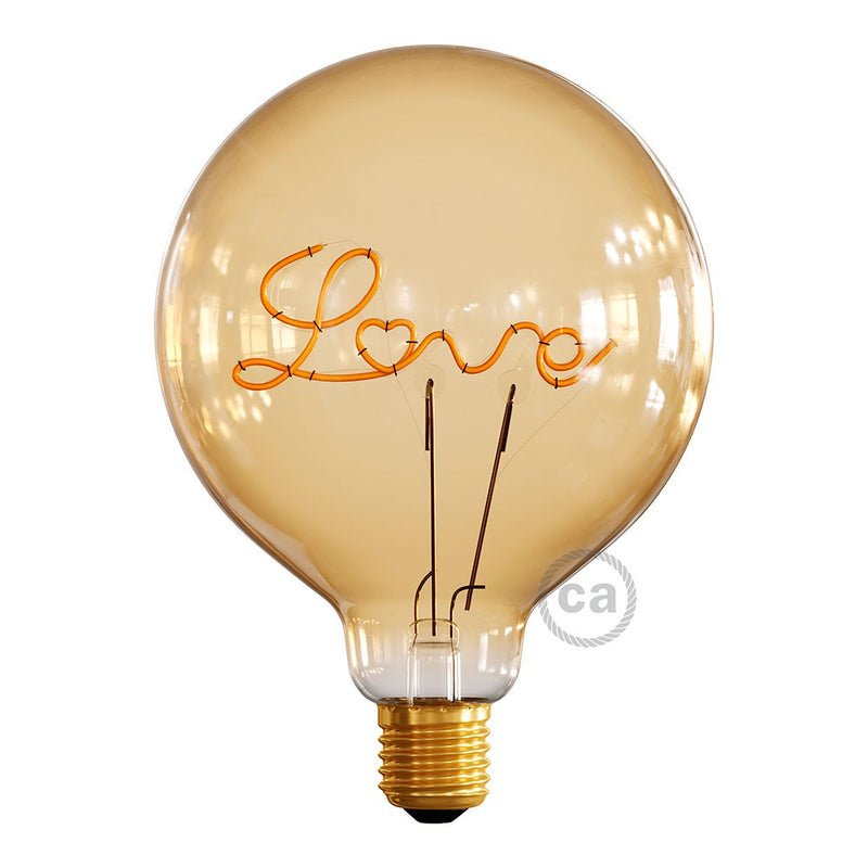 "LED Golden Light Bulb for upright lamp - Globe G125 Single Filament ""Love"" - 5W E27 Decorative Vintage 2000K"
