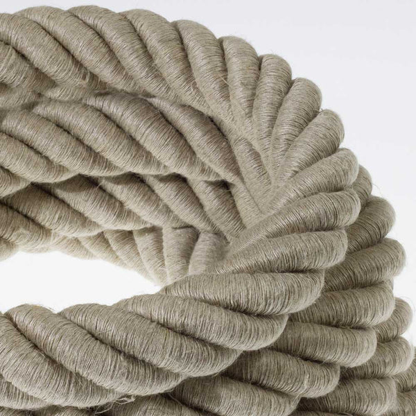 3XL electrical cord, electrical cable 3x0,75. Natural linen fabric covering. Diameter 30mm.
