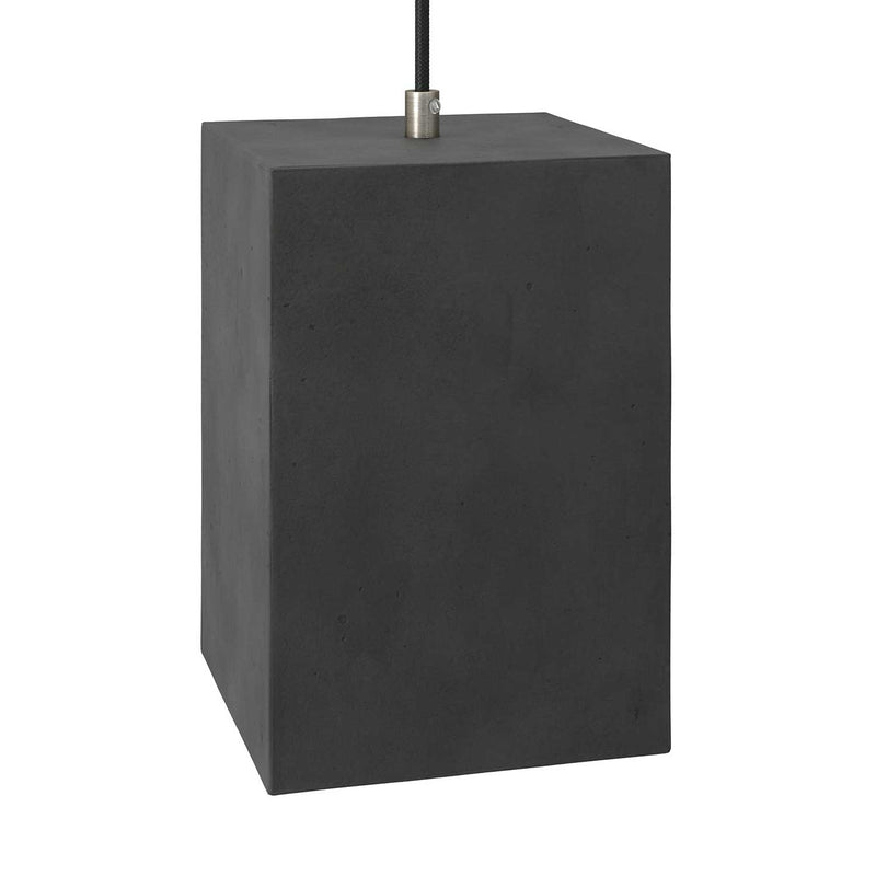 Cube cement lampshade for suspension, with cable clamp and E27 lamp holder