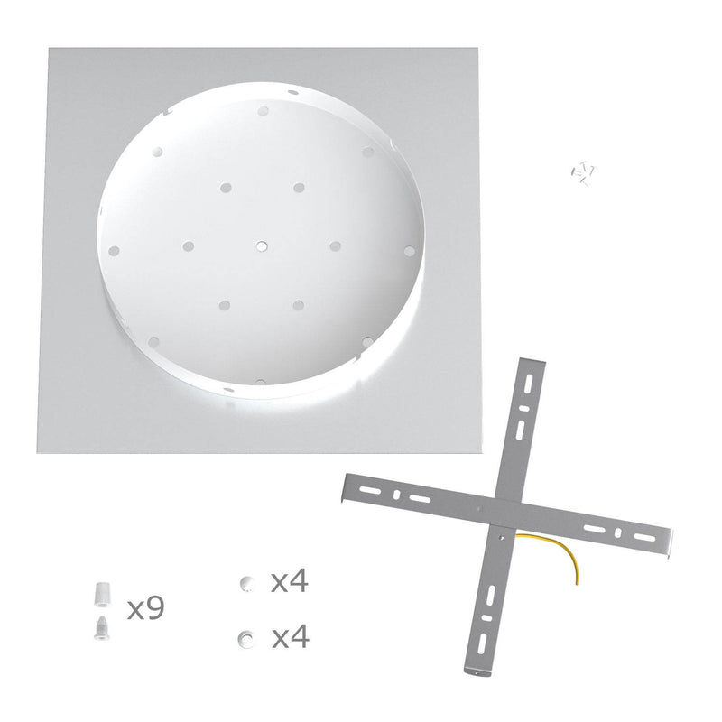 Square XXL Rose-One 9 X-shaped holes ceiling rose kit, 400 mm Cover
