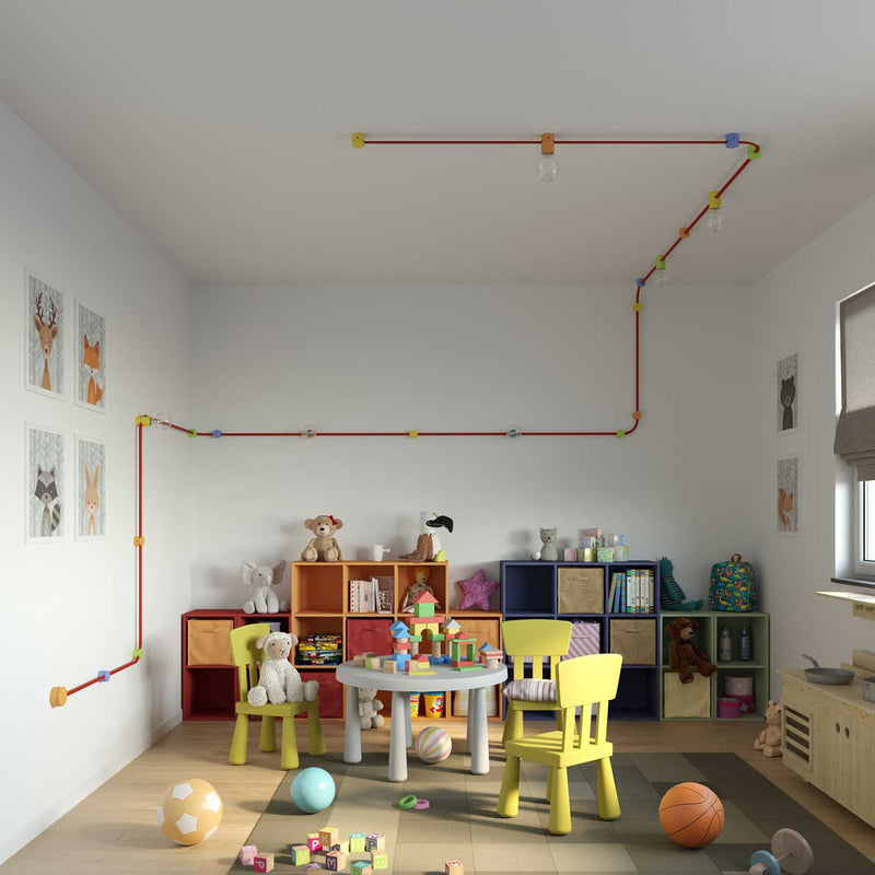 Wooden wall fairlead for string light cable and Filé system. Made in Italy