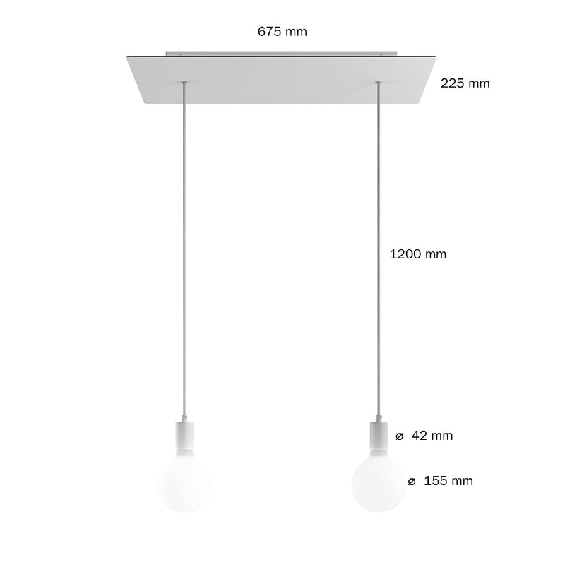 2-light pendant lamp with 675 mm rectangular XXL Rose-One, featuring fabric cable and metal finishes