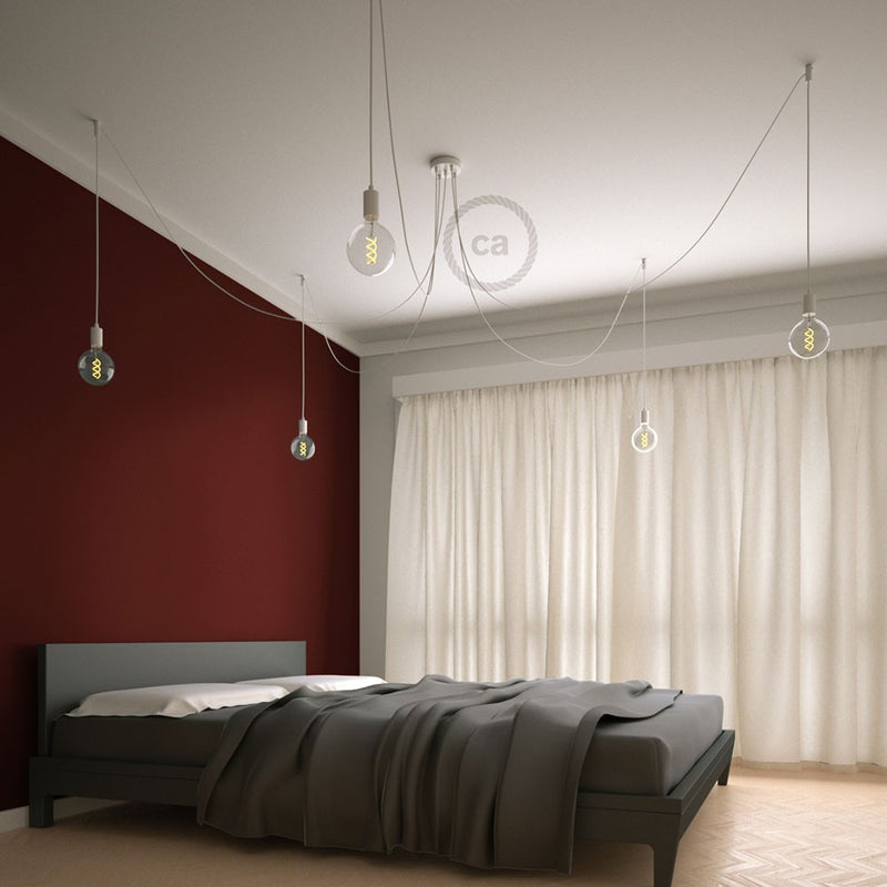Spider - Suspension with 5 pendants Made in Italy complete with bulbs, fabric cable, and metal finishes