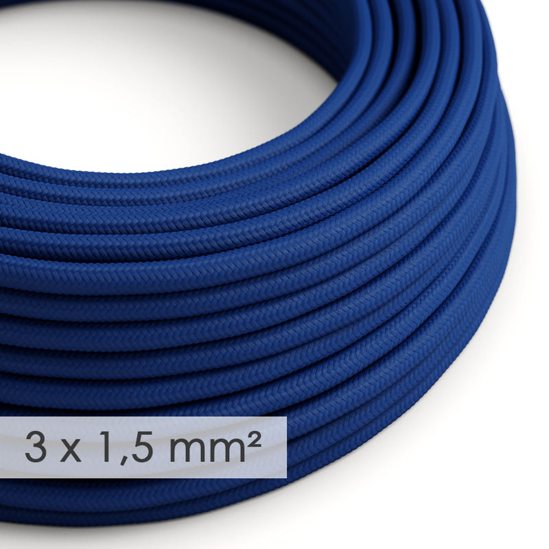 Large section electric cable 3x1,50 round - covered by rayon Blue RM12