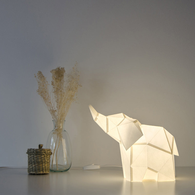 Baby Elephant - DIY Colour Paperlamp-Candeeiros-Light & Store-Cotton White-Light & Store