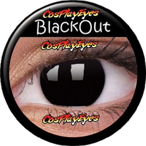 Black out mini sclera black zombie contact lenses
